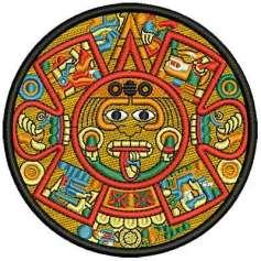 Aztec calendar colorful 9 cm.