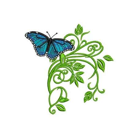 Blue butterfly with leaves