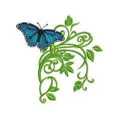 Mariposa azul con hojas - Matriz de bordado