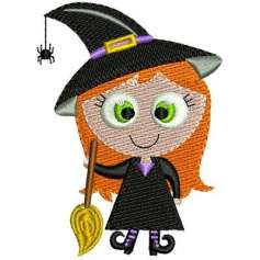 Little witch with broom -