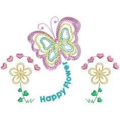Flores felices - Ponchados para bordados