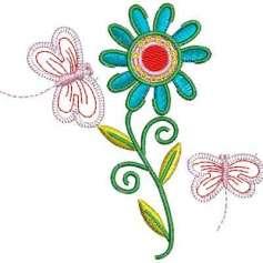 Matrices Picajes para bordado Flor azul