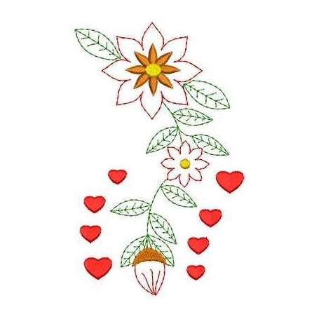 Flor corazones - Picajes para bordados