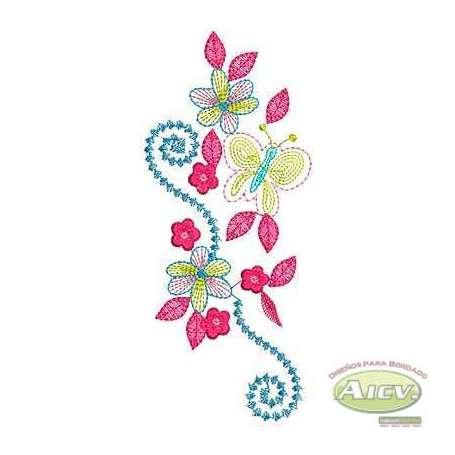 Flores pespunte - Ponchado