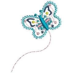 Mariposa turquesa - Matriz de bordado