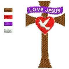 Cruz Love Jesus - Ponchados para bordados