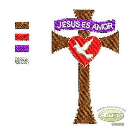 Cross Jesus es amor - Embroidery