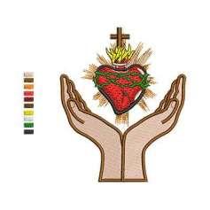 Sagrado Corazón en Oración - Ponchados para bordados
