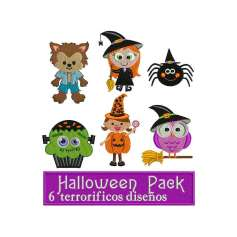 Halloween paquete 6 diseños para bordado - Ponchados para bordados