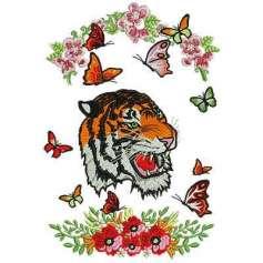 Tigre con flores - Ponchados para bordados