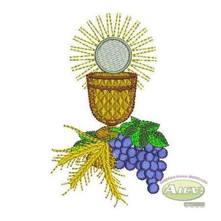Cáliz con uvas y trigo Primera comunión - Ponchado