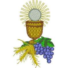 Chalice with grapes and wheat First communion