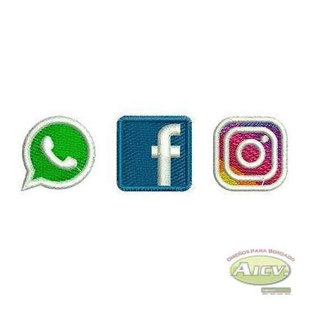 Iconos Redes Sociales - Ponchados para bordados