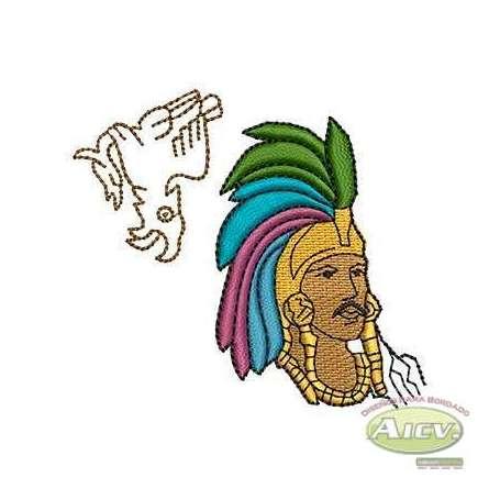 Cuauhtémoc emperador Azteca - Ponchados para bordados